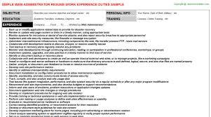 Admin Resume Sample by Web Administrator Resume Sample