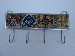 talavera tile key holder mexican handmade wall hanging key hook