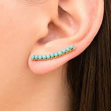climber earrings pair of turquoise ear climber earrings turquoise ear