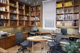 marvelous free standing book storage cabinet over custom l shape computer desk also small round table and two swivel chairs in small home office organizing