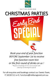 early bird special book your christmas party now accommodation
