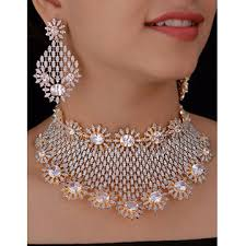 zircon necklace set images India party wear necklace set from kolkota wholesaler indian fashions jpg