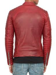 leather biker jackets for sale balmain quilted leather biker jacket in red for men lyst
