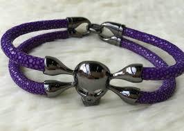 luxury man bracelet images 2015 luxury skull bracelet hand chain mens purple stingray leather jpg