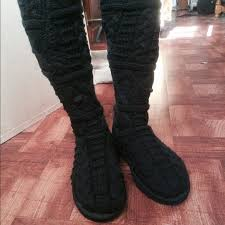 twisted boots womens australia ugg womens the knee twisted cable knit boots black