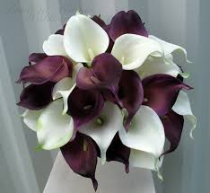 calla lilly calla wedding bouquet plum white real touch wedding flowers