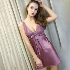 iiiher women silk satin plus size night dress sleeveless