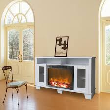 Freestanding Electric Fireplace Cambridge Savona 59 In Electric Fireplace In White Cam6022 1wht