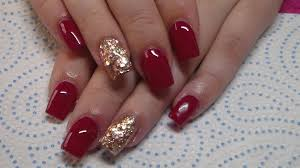 acrylic nails burgundy and copper glitter youtube