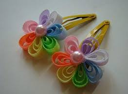 ribbon hair clip diy ribbon flower hair clip fabdiy