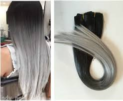 grey hair extensions 19 black grey 70 real clip in human hair extensions dip