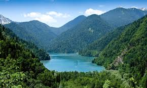 Georgia natural attractions images Lake ritsa abkhazia north caucasus black sea 55 caucasus mountains jpg