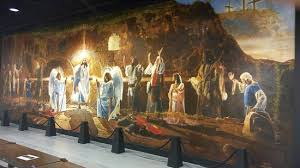 the resurrection mural shows biblical characters celebrating