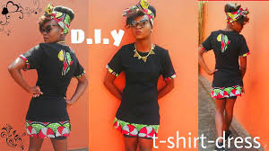 d i y how to tshirt dress with african print tutorial youtube