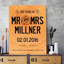 five year wedding anniversary gift personalised 5 year wedding wood anniversary print with your