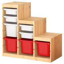 furniture wooden ikea toy storage filled witheight boxes