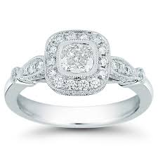 1 Carat Cushion Cut Engagement Ring Cushion Cut U0026 Round Brilliant 1 00 Ctw Vs2 Clarity I Color