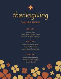 Thanksgiving Dinner Menu Template Dark Blue Simple Illustrated Flowers Thanksgiving Menu Templates