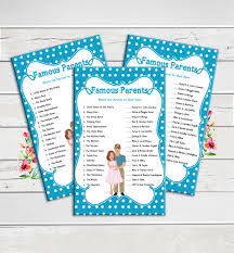 famous parents baby shower game pregnant mommy daddy blue