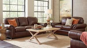 leather livingroom furniture balencia brown leather 3 pc living room leather living