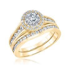 gold bridal sets ellaura glow diamond halo yellow gold bridal set 1 1 4ctw