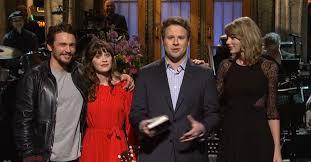 Snl Red Flag Seth Rogen Hosts Snl James Franco Zooey Deschanel Join Monologue