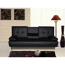 Three Seater Sofa Bed Manhattan 3 Seater Sofa Bed With Cup Holders Black By Sleep Design