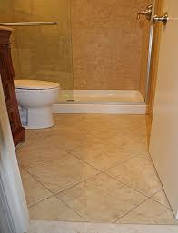 tile flooring ideas bathroom tile on the diagonal on floor contrasted with smaller tiles placed