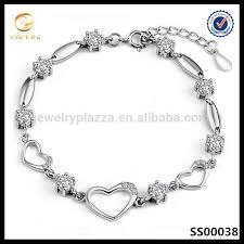 sterling silver bracelet designs images Latest design sterling silver bracelet women cz crystal heart jpg
