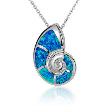 opal stone silver necklace images Nautilus snail shell pendant with blue opal stone siesta key gems jpg