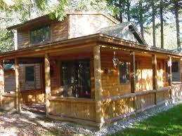 Log Homes With Wrap Around Porches Waterway Cottage Michigans Inland Homeaway Cheboygan
