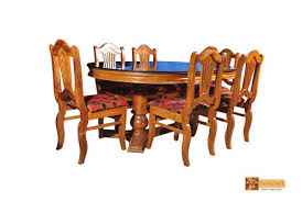 Table With 6 Chairs Nila Oval Teak Wood Dining Set Glass Top Table With 6 Chairs At Rs