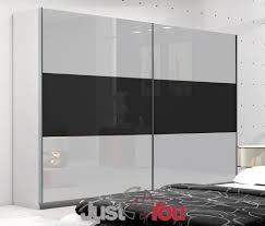 Black Gloss Bedroom Furniture Uk Wardrobe Neptun Sliding Doors With High Gloss Various Sizes