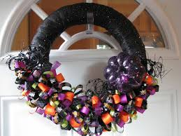 Halloween Wreath Decorations by One Crafty Mama Spook Tacular Halloween Ribbon Wreaths