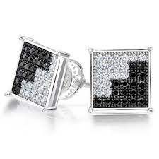 mens earrings 925 sterling silver dual color cz micropave mens stud earrings