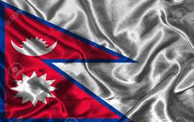 Pics Of Nepal Flag Waving Colorful Nepal Flag On A Silk Background Stock Photo