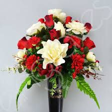 Memorial Vases For Graves Uk Loving Memory Grave Memorial Vase With Artificial Red Rose Flower