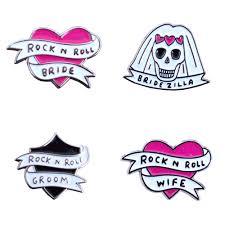 full set of rock n roll wedding enamel pins veronica dearly