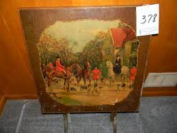 Wooden Folding Card Table Wooden Folding Card Table W Fox Hunt Scene