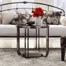 edison black nickel plated modern glass top round end table by