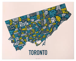 Map Of Toronto Canada by Toronto Neighborhood Map Posters U0026 Prints Display Your Love Of