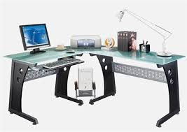 Modern Desk L Modern L Shaped Corner Desk With Frosted Glass Top Keyboard Tray