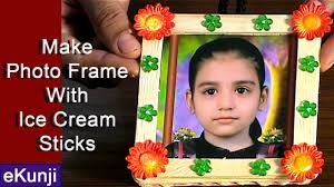 craft ideas for kids make photo frame from ice cream sticks