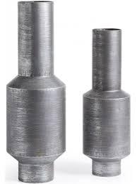 vasi decorativi grant set 2 vasi decorativi in metallo argento anticato
