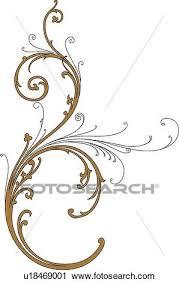 clipart of brown and black swirl design ornament u18469001