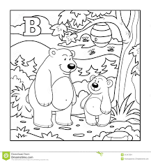 coloring book bears forest colorless letter stock