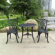 cast aluminum outdoor garden patio table and 2 chairs setting 3