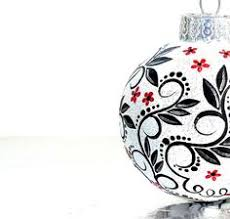 painted ornaments words black and white painted