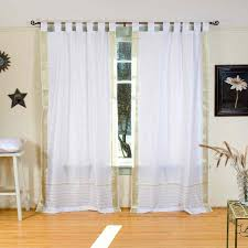 White Tab Top Curtains White With Gold Tab Top Sheer Sari Curtain Drape