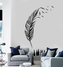 vinyl wall decal feather birds bedroom home decoration stickers